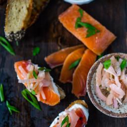 Salt Cured Salmon with Vodka, Juniper, Lemon and Rosemary