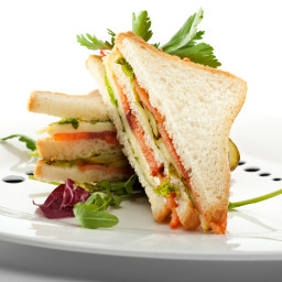 Sandwich with Hummus and Smoked Salmon