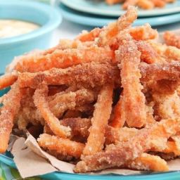 Sassy Sugar Cinnamon Sweet Potato Fries with Creamy Coconut Maple Dipping S