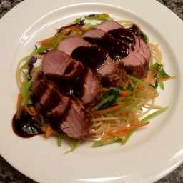 Saucy Garlic Roasted Pork with Broccoli Slaw