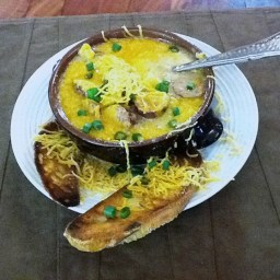 Sausage, Cheddar Cheese Stew with Potatoes