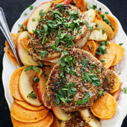 Sauteed Pork Chops with Sweet Potato, Apples and Mustard Sauce