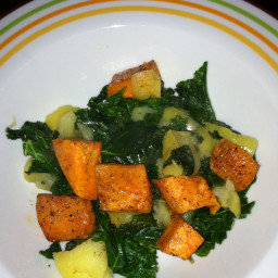 Sautéed apples and kale with roasted sweet potatoes