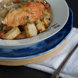 Savory-Roasted Chicken with Preserved Lemons, Garlic and Potatoes