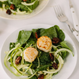 Scallop and Apple Noodle Spinach Salad with Spiced Walnuts