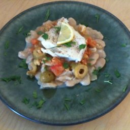 Seared Halibut with Butter Beans and Green Olives