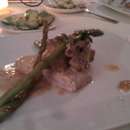 Seared Lemon-lime Yellowfin w/Portobello cream sauce and asparagus
