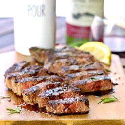 Seared New York Strip Steak with Red Wine Balsamic Reduction
