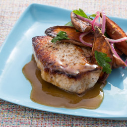 Seared Pork Chopswith Roasted Sweet Potato Salad