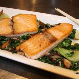 Seared Salmon with Sesame Bok Choy and Spinach