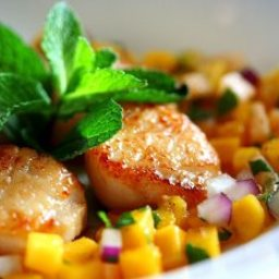 ... Main Dish Fish and Shellfish Seared Scallops with Tropical Fruit Salsa