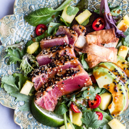 Seared Ahi Tuna Poke Salad with Hula Ginger vinaigrette + Wonton Crisps.