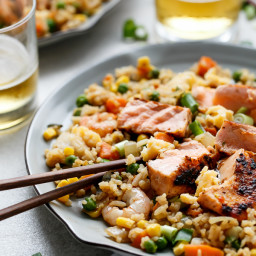 Seared Salmon and Prawn Fried Rice