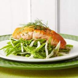 Seared Salmon with Sugar Snap-Fennel Slaw
