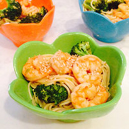 Sesame Shrimp and Broccoli with Angel Hair Pasta