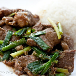 Shacha beef & garlic chives stirfry