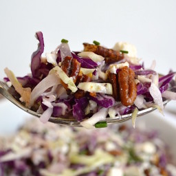Shaved Cabbage Salad with Creamy Feta Vinaigrette and Spiced Pecans
