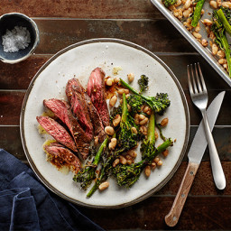 Sheet-Pan Skirt Steak with Balsamic Vinaigrette, Broccolini, and White Bean