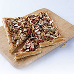 Shiitake and Roasted Red Pepper Puff Pastry Tart