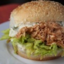 Shredded Buffalo Chicken Sandwiches with Blue Cheese Aioli