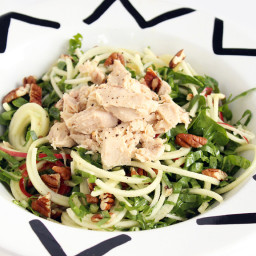 Shredded Chard, Apple Noodle and Tuna Salad with Lemon Dijon Vinaigrette