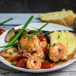 Shrimp and Scallops in Creamy Marinara Sauce