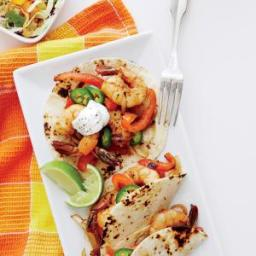 Shrimp Fajitas with Mango-Lime Slaw