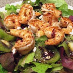 Shrimp Kiwi Mixed Green Salad