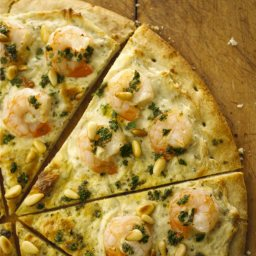Shrimp Scampi Pizza with Alouette Cheese