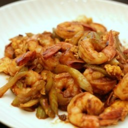 Shrimp and Celery with Ketchup Tobanjang Sauce