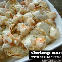 Shrimp Nachos with Creamy Garlic Cheese Sauce