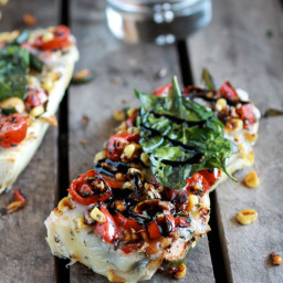 Simple Crispy Basil Caramelized Garden Vegetable + Fontina French Bread Piz