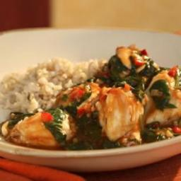 Singapore Chile Crab with Spinach