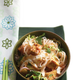 Singapore Hawker Noodles with Golden Tofu and Coconut