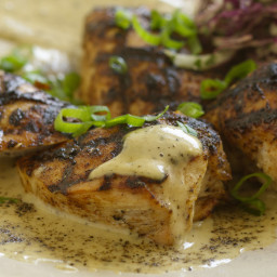 Sixteen-Spice-Rubbed Chicken Breast with Black Pepper Vinegar Sauce and Gre