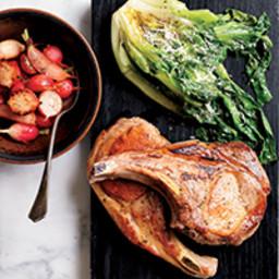 Skillet Pork Chops with Warm Escarole Caesar
