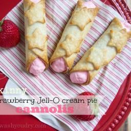 Skinny Strawberry Jell-O Cream Pie Cannolis