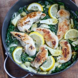 Skinny Spinach Artichoke Chicken Skillet