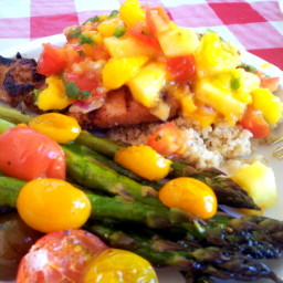 Slightly Jerked chicken w/ Pineapple Mango Salsa served over Coconut Quinoa