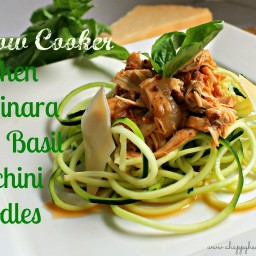 Slow Cooker Chicken Marinara with Basil Zucchini Noodles