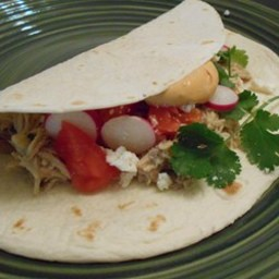 Slow Cooker Chicken Tacos with Chipotle Cream Sauce