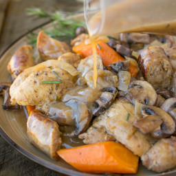 Slow cooker rosemary chicken, sausage and mushrooms