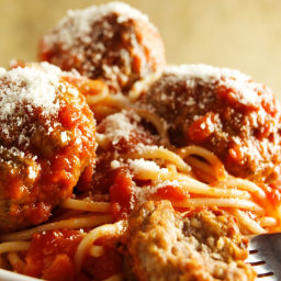 Slow Cooker Turkey Meatballs and Spaghetti