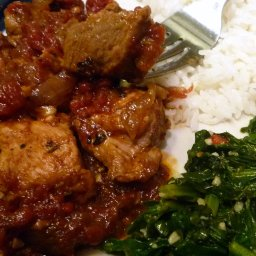 Slow Roasted Jerk Pork with Winter Greens & Rice