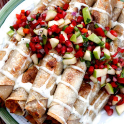 Slow Cooker Creamy BBQ Raspberry Chipotle Chicken Taquitos (with Pomegranat
