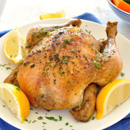 Slow Cooker Lemon Garlic Roast Chicken