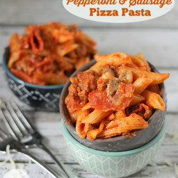 Slow Cooker Pepperoni  and  Sausage Pizza Pasta