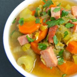 Slow Cooker Split Pea Soup with Ham and Chorizo {Free Knife Skills Class Op