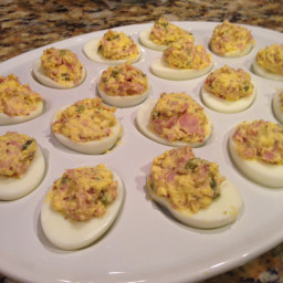 Smoked Ham Deviled Eggs