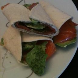 Smoked salmon tortilla role